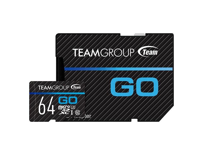 Карта памяти MicroSDXC 64GB UHS-I/U3 Team Go R90/W45MB/s + SD-адаптер (TGUSDX64GU303)