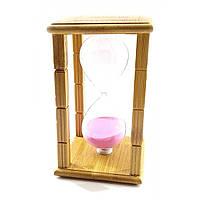 """Часы песочные бамбуковые розовый песок - """"Time is Money"""" 20 мин /16,5х10х10 см"""