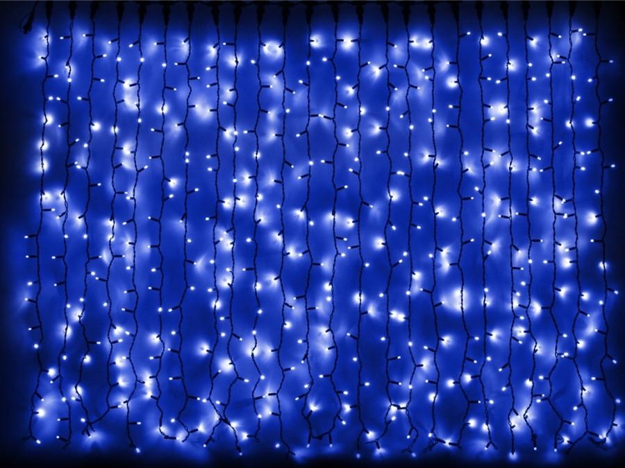 Гирлянда новогодняя водопад уличная синяя 480 LED диодов, черный провод 3*2 м