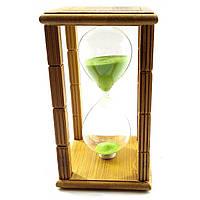 """Часы песочные в бамбуке """"Time is Money"""" зеленый песок, на 20 минут / 16,5х10х10 см"""
