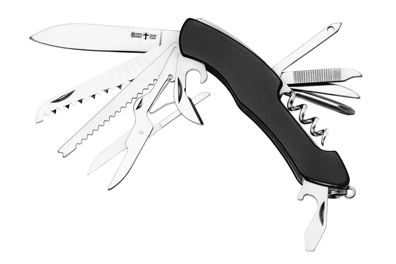 Нож многофункциональный (мультиту) 62013 (14 в 1) черный Grand Way
