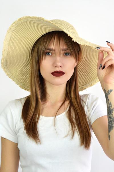 Широкополая шляпа FAMO Девон песочная 54-56 (SHL-1819)