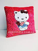 Подушка детская для ребенка «кошечка КИТТИ» с двусторонней паеткой 24 см  (00291-91)