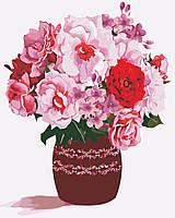 AS0354 Набор живописи по номерам Розовый букет, В картонной коробке