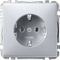 Розетка c з/к Merten SD Алюминий MTN2301-4060