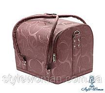 Бьюти кейс чемодан для мастера салонов красоты из кожзама на змейке завиток пудра