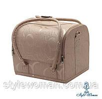 Бьюти кейс чемодан для мастера салонов красоты из кожзама на змейке завиток беж