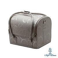 Бьюти кейс чемодан для мастера салонов красоты из кожзама на змейке завиток серебро