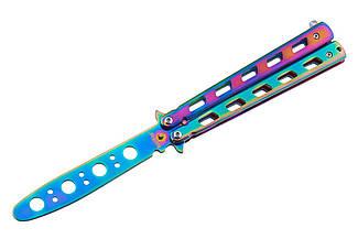 Нож бабочка, учебный детский тренировочный безопасный нож балисонг для ребенка, 1072, не острый, радужный