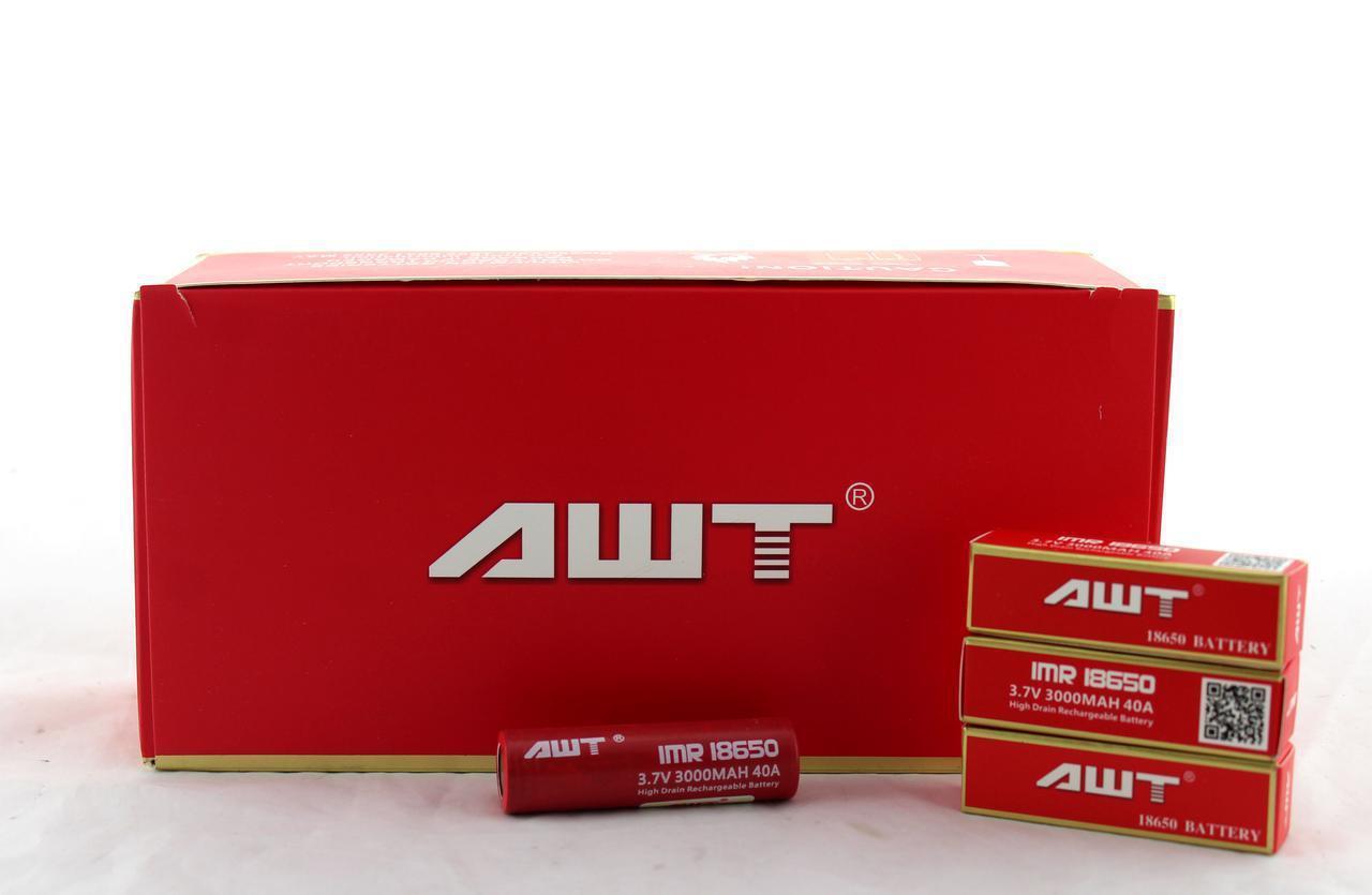 Аккумулятор батарея AWT 18650 3000 mAh 3,7V 40A 2шт