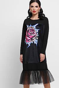 Женское платье черное Роза Луиза д/р