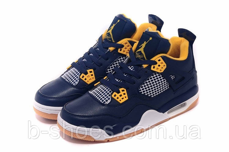 Мужские баскетбольные кроссовки Air Jordan Retro 4 (Dark blue/Yellow)