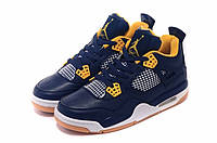 Мужские баскетбольные кроссовки Air Jordan Retro 4 (Dark blue/Yellow), фото 1
