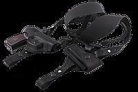 Кобура оперативная двухсторонняя ПМ формованная с чехлом под магазин, кожа, чёрная