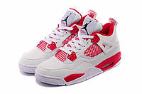 Мужские баскетбольные кроссовки Air Jordan Retro 4 (White/Red), фото 1