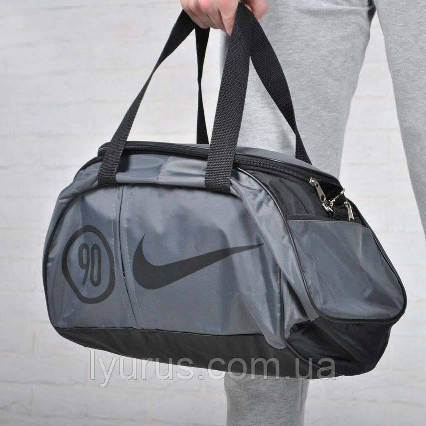 Сумка найк, Nike 90 спортивная с плечевым ремнем. Серая с черным.