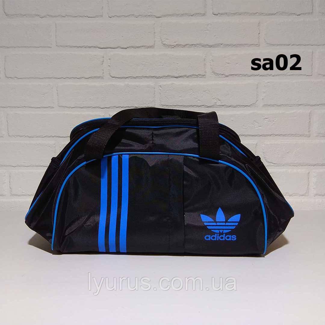 Спотривная сумка adidas для фитнеса с плечевым ремнем. Черная с голубым