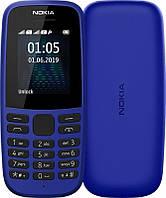 """Мобильный телефон Nokia 105 2019 Single Sim Blue; 1.77"""" (160x128) TN / клавиатурный моноблок / ОЗУ 4 МБ / 4 МБ встроенной / без камеры / 2G (GSM) / ОС"""