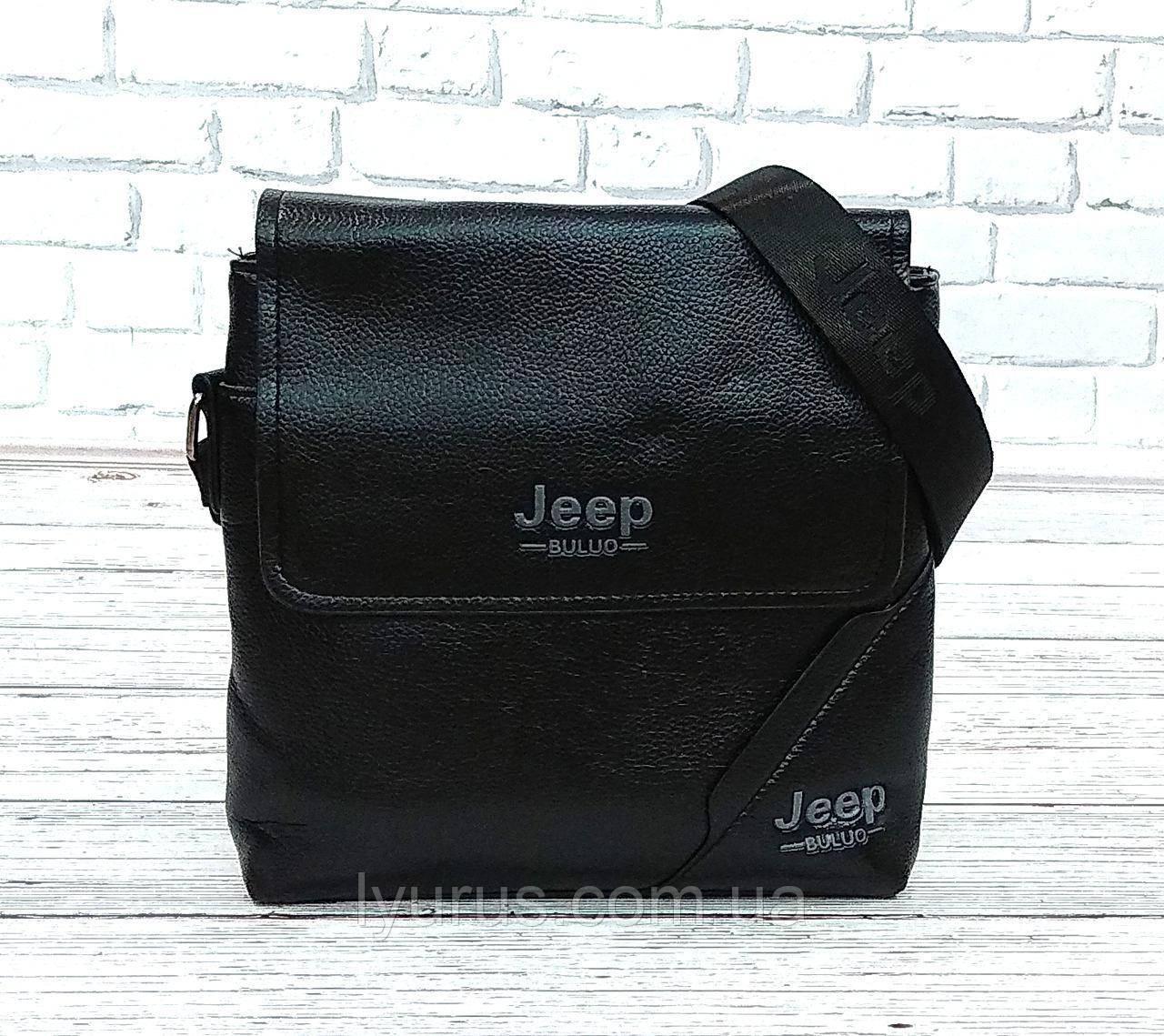 Мужская сумка через плечо Jeep. Черная. 25x23х5 Кожа PU / 556-2 black
