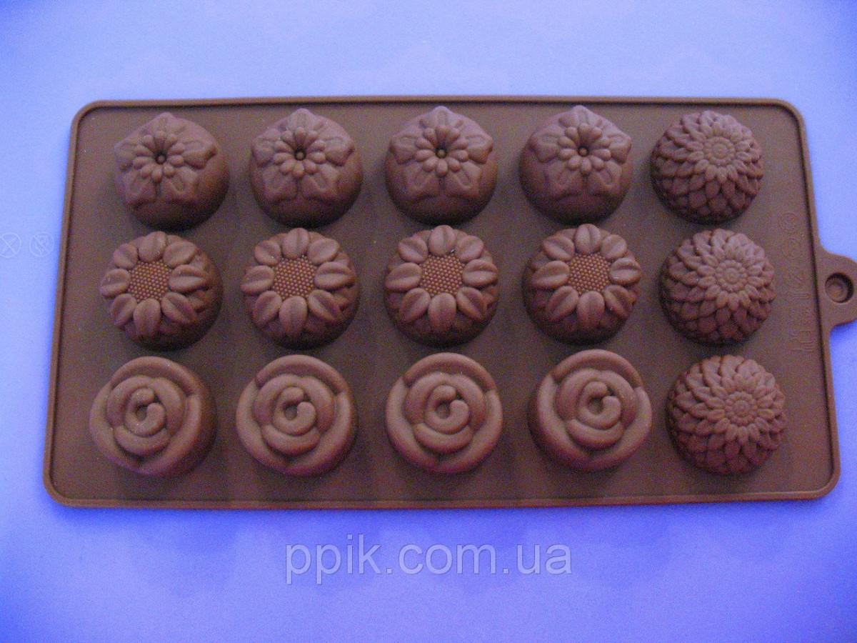 Форма силикон для конфет Цветочное ассорти, цвет в ассортименте