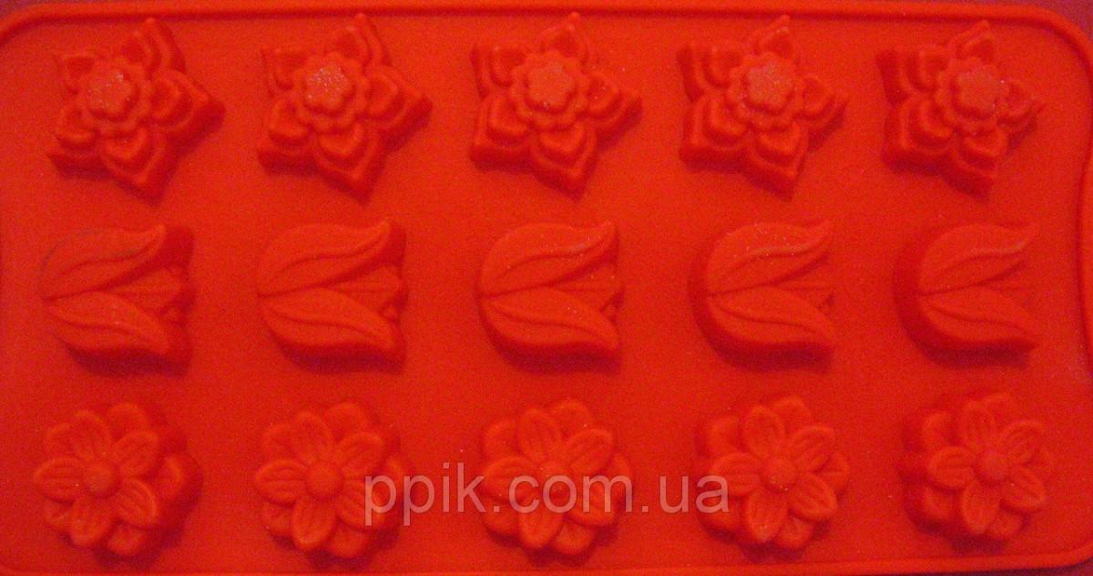Форма силікон для цукерок Весняні квіти міні