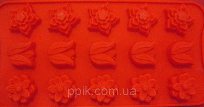 Форма силікон для цукерок Весняні квіти міні, фото 2