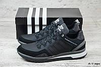 Мужские кожаные кроссовки Adidas (Реплика), фото 1
