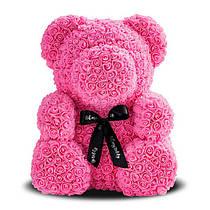 Мишка из роз 40 см розовый