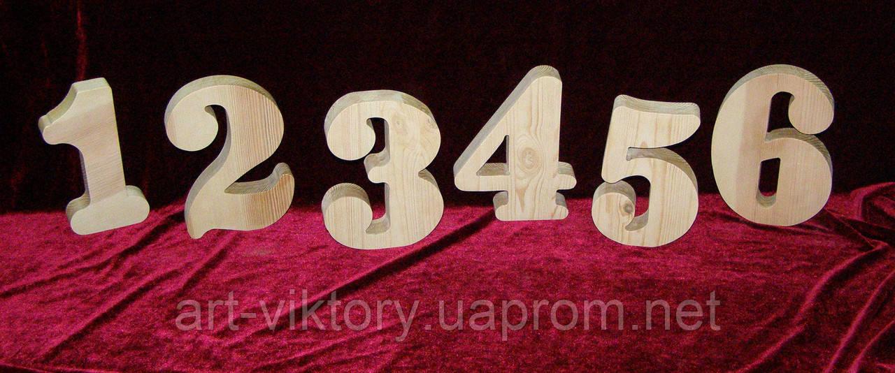 Цифри з дерева (висота 18 см), декор