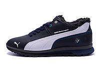 Мужские зимние кожаные кроссовки Puma BMW MotorSport Blue Pearl (реплика)