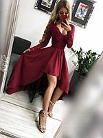 Платье женское Лиана бордовое вечернее ассиметричное с гипюровым рукавом