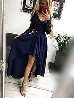 Платье женское Лиана темно-синее вечернее ассиметричное с гипюровым рукавом