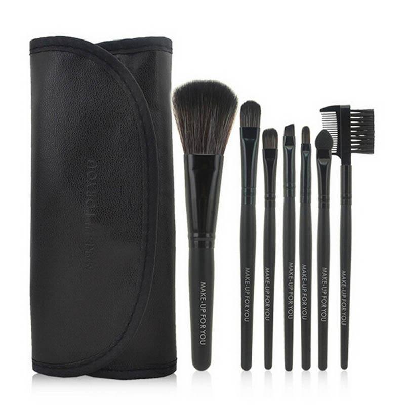 Кисти для макияжа 7 шт набор с чехлом черный