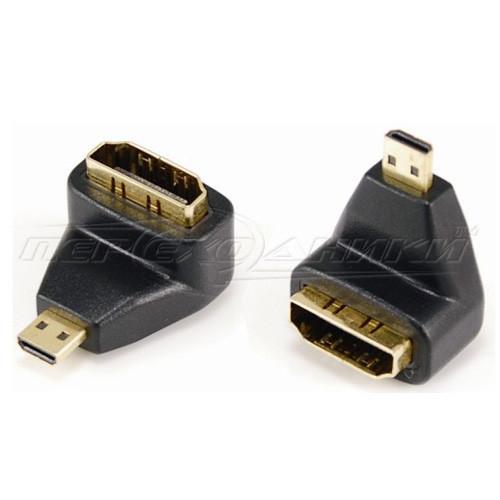 Переходник micro HDMI (M) - HDMI (F), угловой