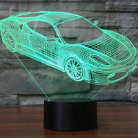 3D лампа-светильник АВТОМОБИЛЬ Объемные 3 D светильники с 7 вариантами подсветки