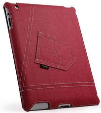 Уникальный чехол книжка для Apple ipad 2 3 4 джинс красный, фото 2