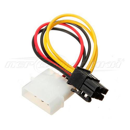 Кабель питания для видеокарт 6 pin PCI-E to Molex, 14 см