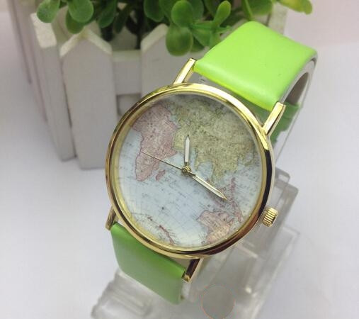 Часы женские наручные Planet Карта мира green (зеленый)