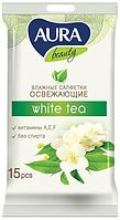 """Серветки вологі Aura """"Білий чай"""" (15шт.)"""