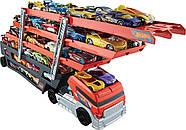 Hot WheelsМега грузовик для 50 машинок  Трейлер автовоз Mega Hauler Truck, фото 10