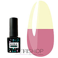 Термо гель-лак Kira Nails Termo №T12 - чайный розовый, при нагревании желтый, 6 мл