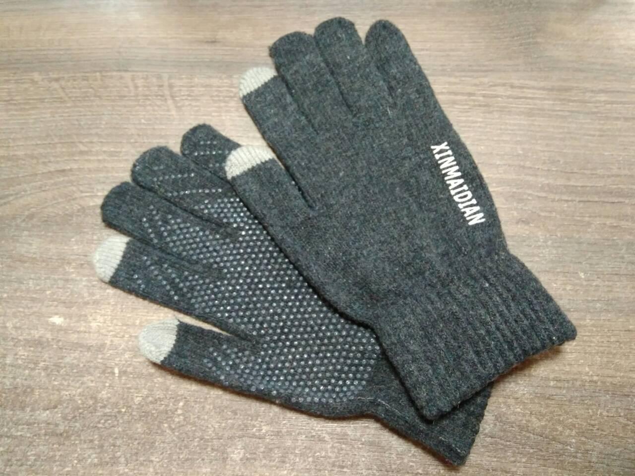 Перчатки мужские для сенсорных экранов Gloves Touch Idiman dark gray