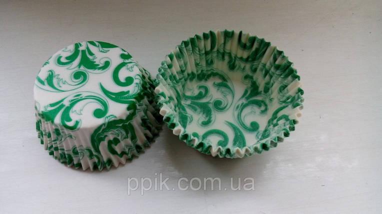 Тарталетки бумажные для кексов Завиток зеленый, фото 2