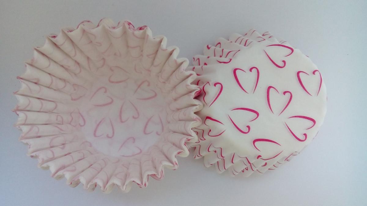 Тарталетки (капсули) паперові для кексів, капкейків сердечка 3