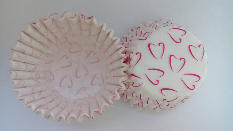 Тарталетки (капсули) паперові для кексів, капкейків сердечка 3, фото 2