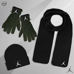 Мужской комплект шапка + шарф + перчатки Jordan черного и зеленого цвета (люкс копия)