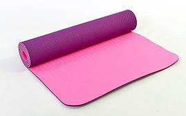 Коврик для фитнеса и йоги TPE+TC 6мм двухслойный FI-3046-10