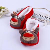 Тапочки балетки домашние женские комнатные теплые плюшевые новогодние Олени