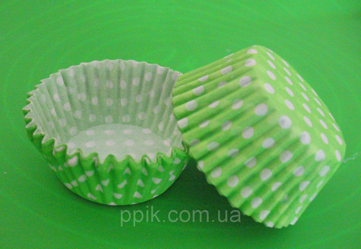 Тарталетки (капсулы) бумажные для кексов, капкейков Салатовые в белый горох №4