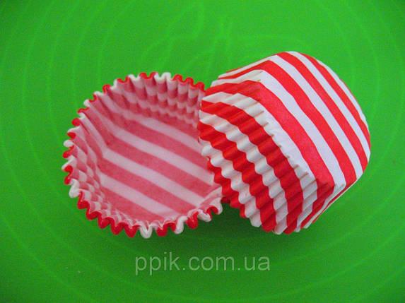 Тарталетки (капсулы) бумажные для кексов, капкейков Красные в белую полоску, фото 2